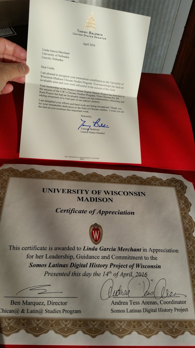 Linda Garcia Merchant's commendation for her contribution to the U of Wisconsin Chicano Studies Program