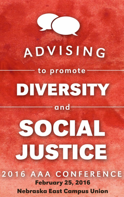 Brochure cover that reads 'Advising to promote diversity and social justice 2016 AAA conference'