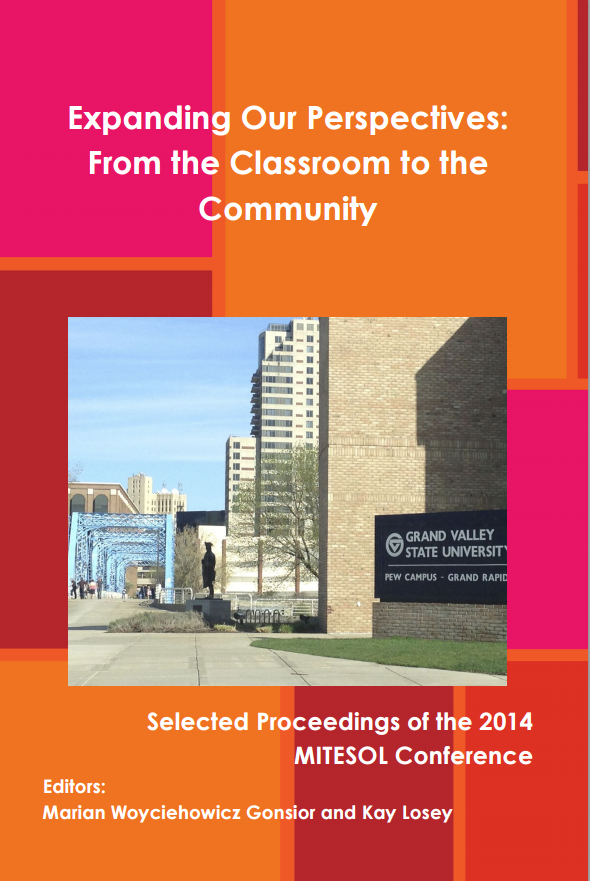 Cover image of Selected Proceedings of the 2014 MITESOL Conference with photo of Grand Valley State University