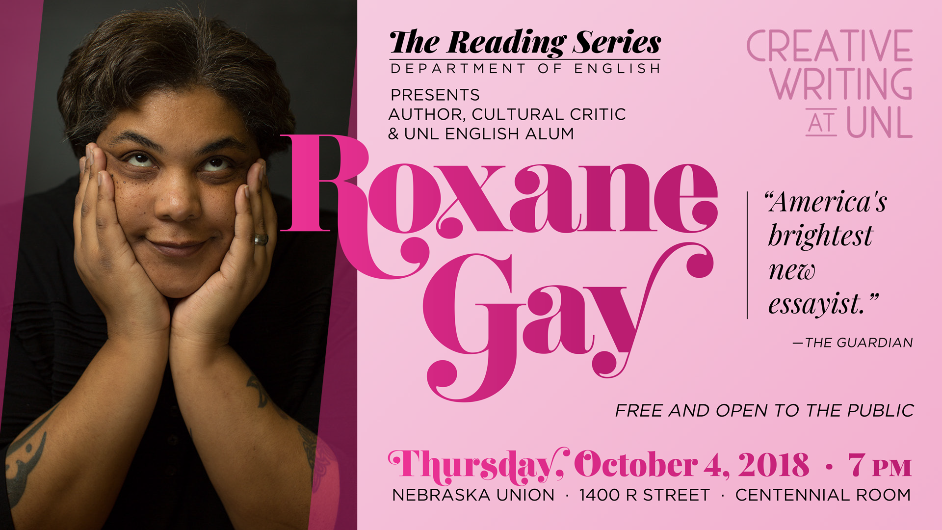 Promotional image for Roxane Gay event - text below