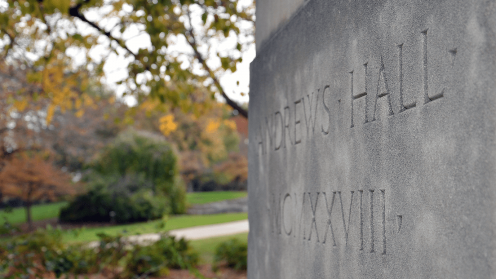 Cornerstone of Andrew Hall with engraving 'Andrews Hall MCMXXVII'