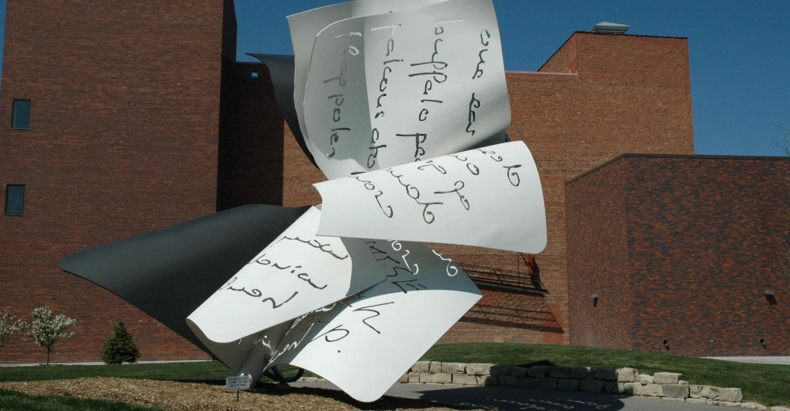 Torn Notebook Sculpture on City Campus
