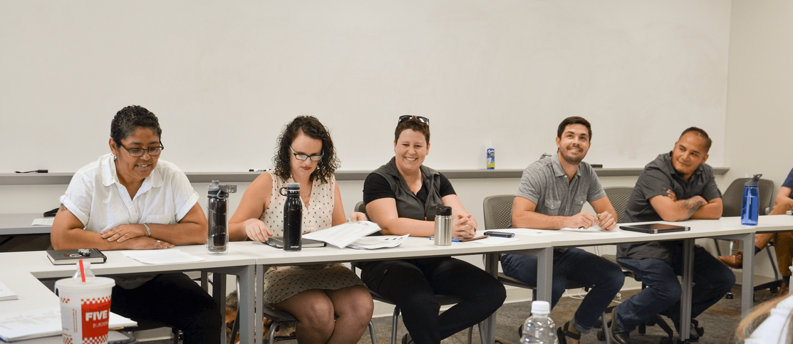 Ph.D. students Nicole Green and Matt Whitaker participate in a panel with alums Linda Garcia Merchant, Erin Bertram, and Angel Garcia