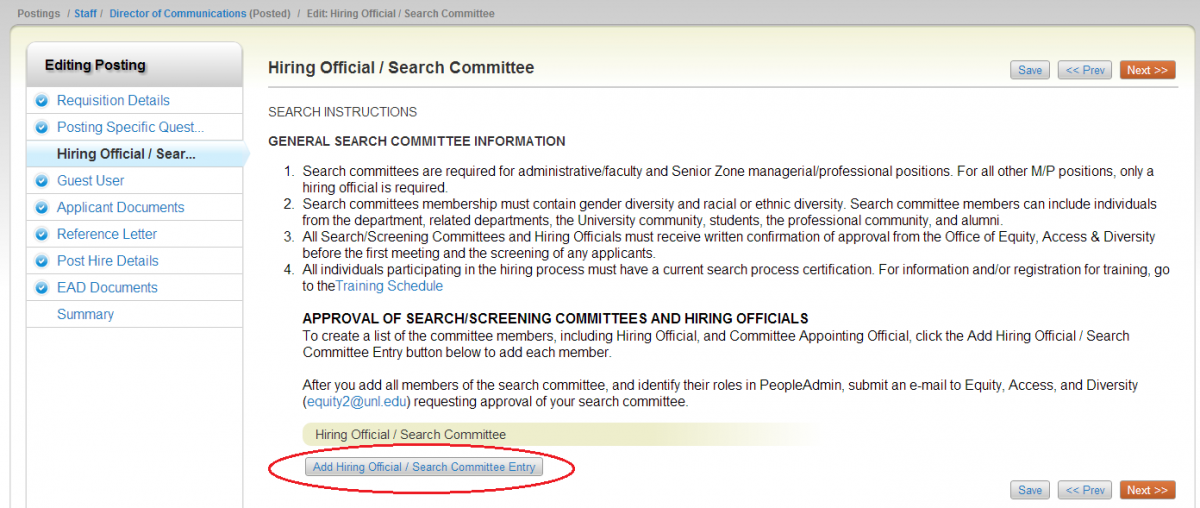 Step 3 Hiring Official Search Committee Approval