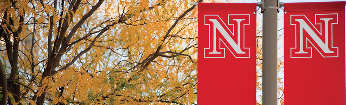 Red UNL banners on campus