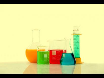 chemistry bottles with liquids