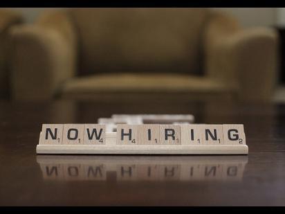 """""""now hiring"""" in scrabble tiles"""