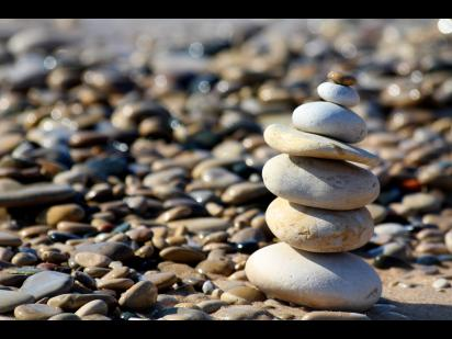 A stack of rocks on the beach