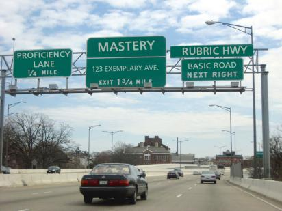 Street signs rewritten as rubric directions