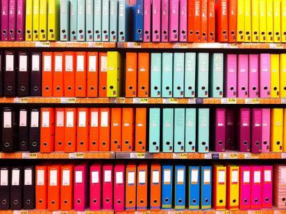 bookshelves and binders