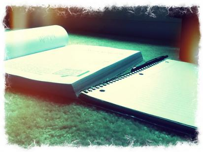 studying with books