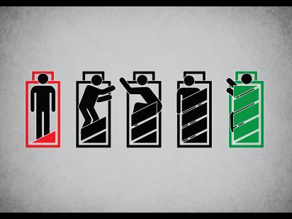 concept illustration of a person recharging as a battery