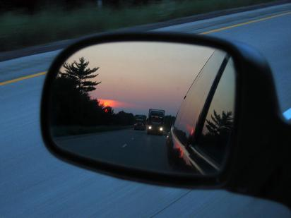 a car's rearview mirror