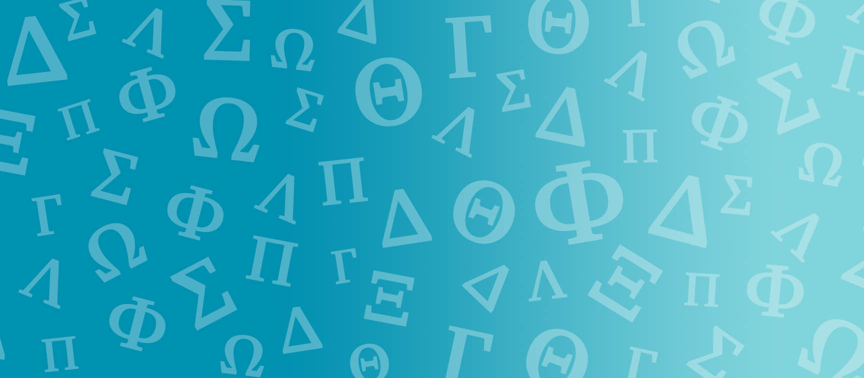 Greek letters on blue background