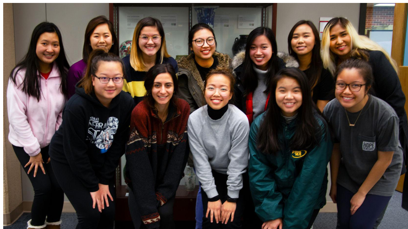 The members of new international sorority NOVA line up to take a photo post meeting at Love Library at the University of Nebraska Lincoln on Monday, Nov. 19, 2018, in Lincoln, Nebraska. | Daily Nebraskan