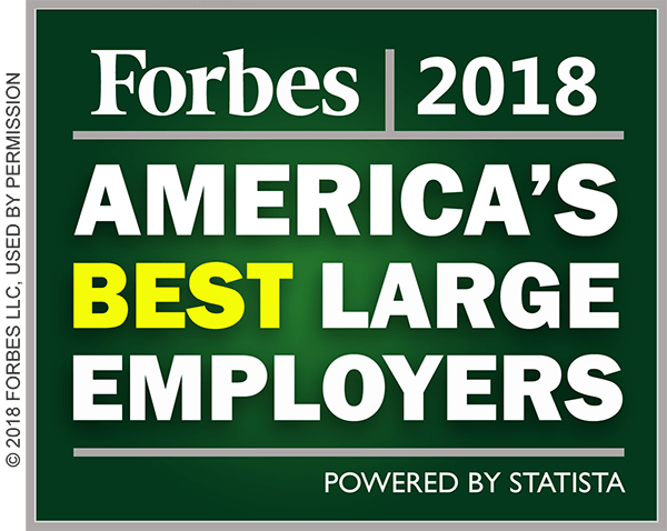 Forbes Best Large Employers 2018 badge.