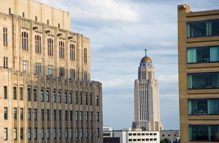 Photo of the Nebraska Capitol and Downtown Buildings