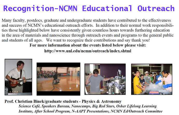 Recognition of Members for NCMN Educational Outreach