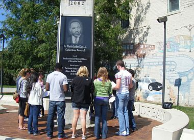 Students at Martin Luther King memorial, Omaha