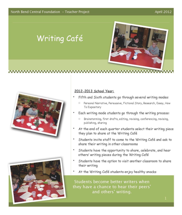 Writing Cafe flyer