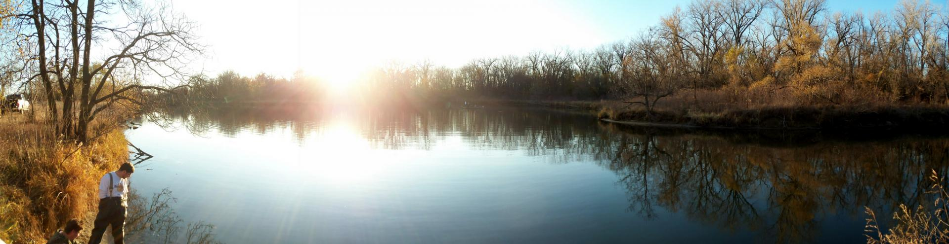 Peaceful sunset on a backwaters area of the Platte River near Ashland, Nebraska during during the fall of 2011