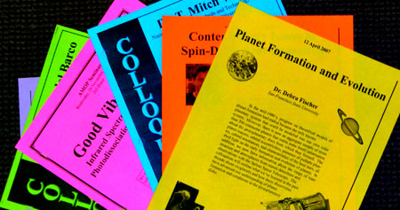 Stack of colloquia abstract flyers
