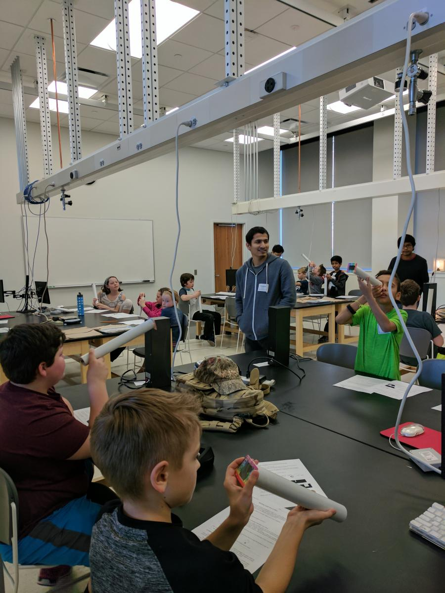 Students build diffraction grating tubes