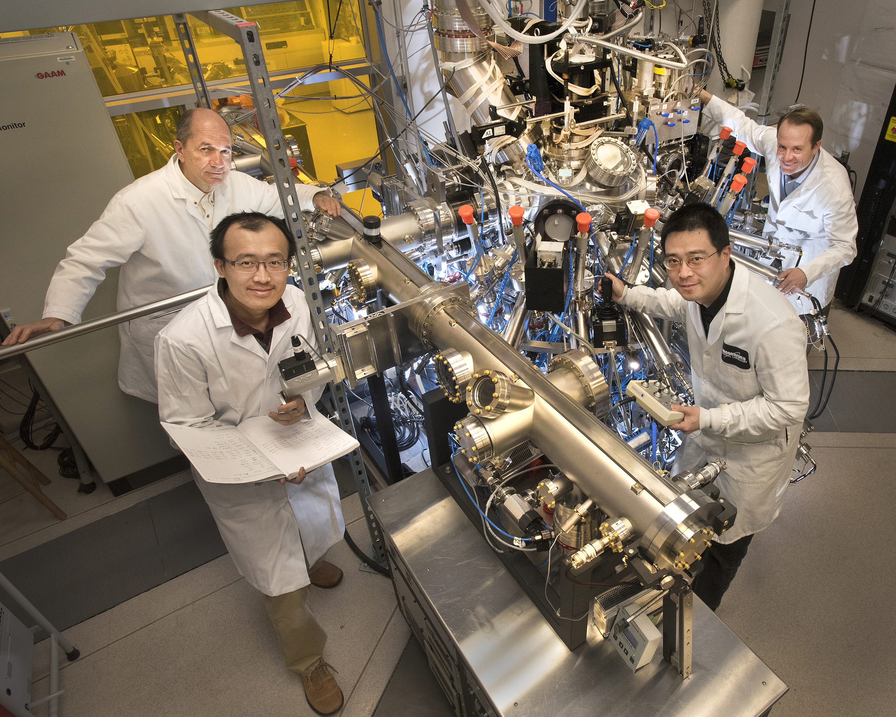 Photo Credit: Xi He and team with research equipment