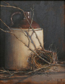 Jug and Bird Nest by Wendy Hall