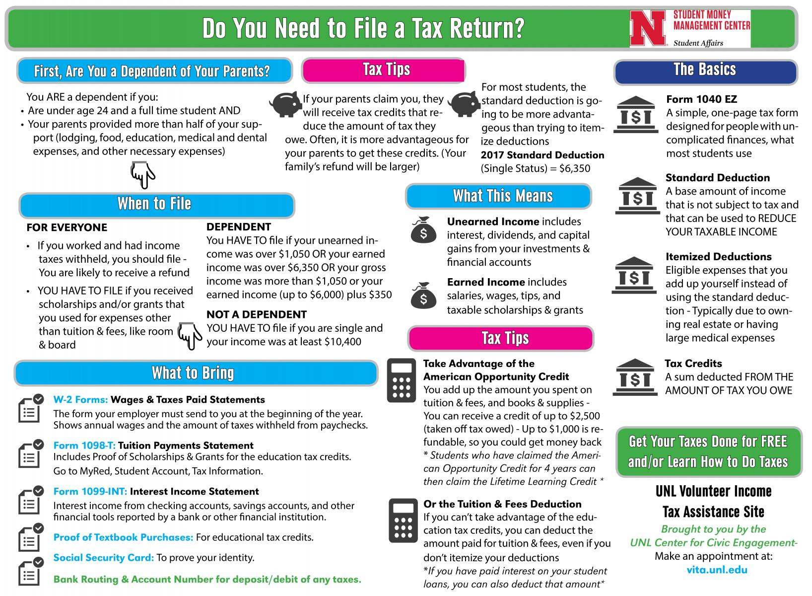 Unl tax assistance student money management center nebraska infographic falaconquin